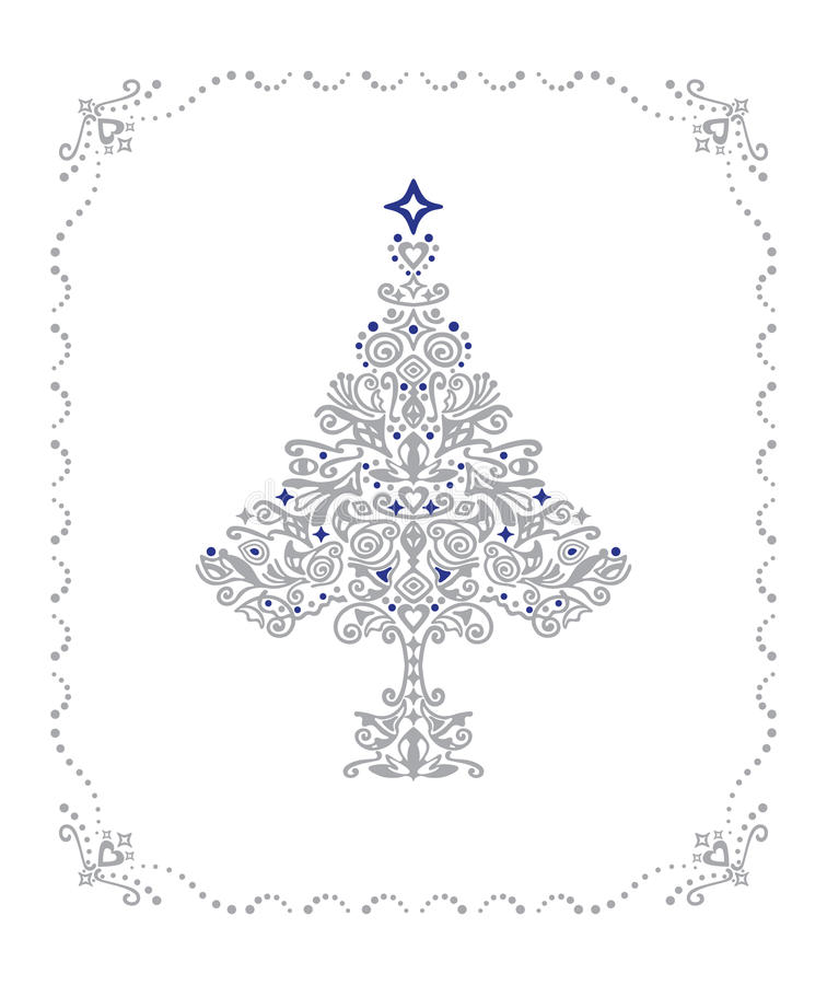 Download Detailed Silver Christmas Tree In A Frame Stock Photo - Image: 10472460