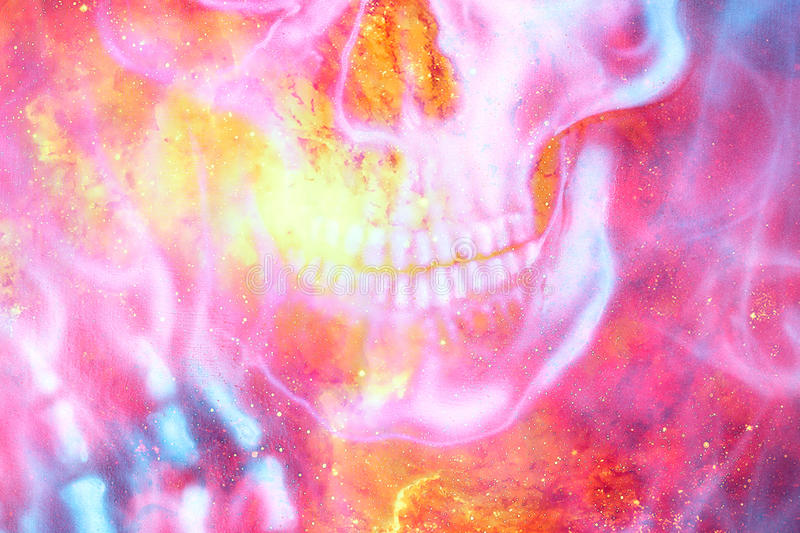 Detailed skull mouth in color cosmic abstract background. Fire effect. Detailed skull mouth in color cosmic abstract background. Fire effect stock illustration