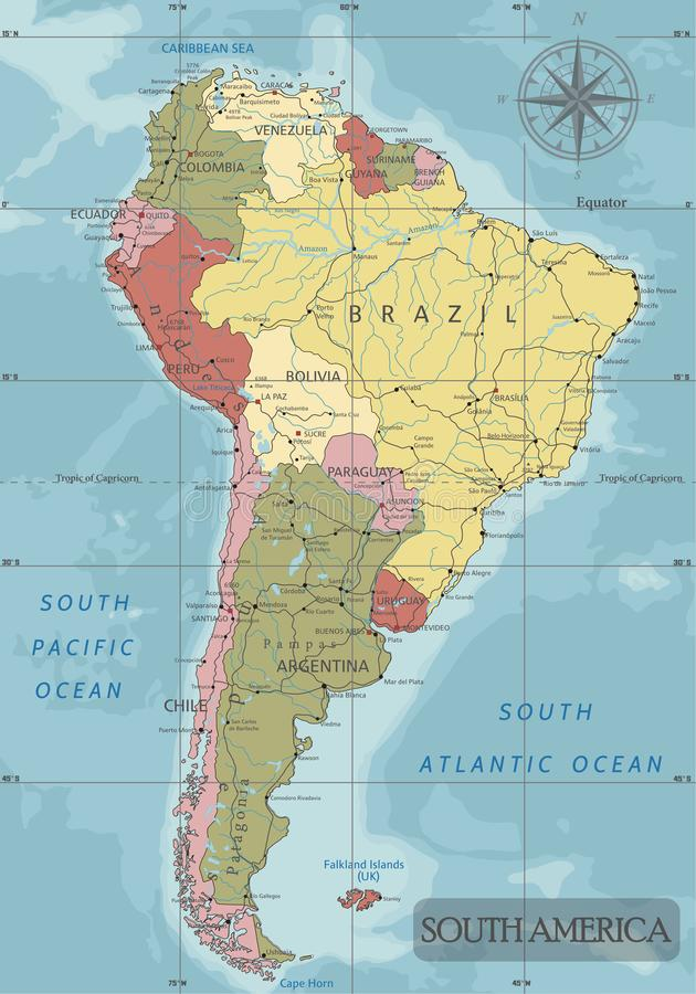 Detailed South America Political map in Mercator projection. Clearly labeled. vector illustration