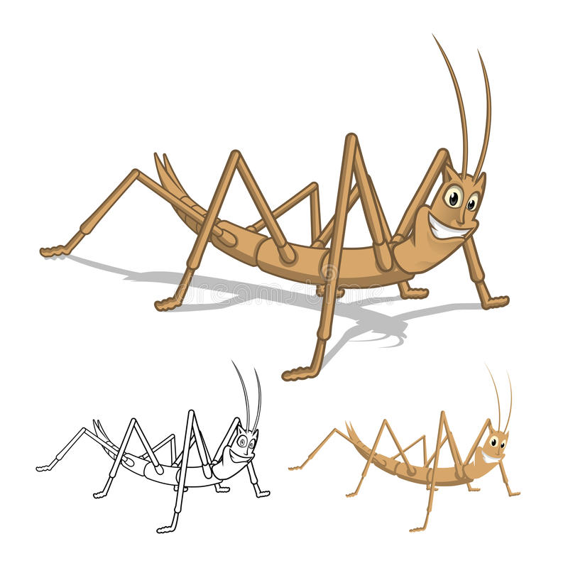 Detailed Stick Insect Cartoon Character with Flat Design and Line Art Black and White Version vector illustration