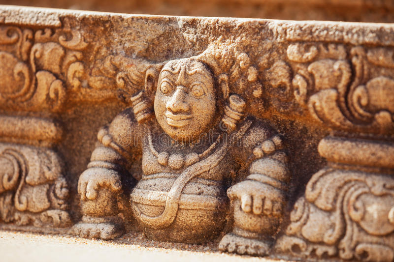 Detailed Stone Relief Sculpture at a Sacred Site in Anuradhapura royalty free stock photo