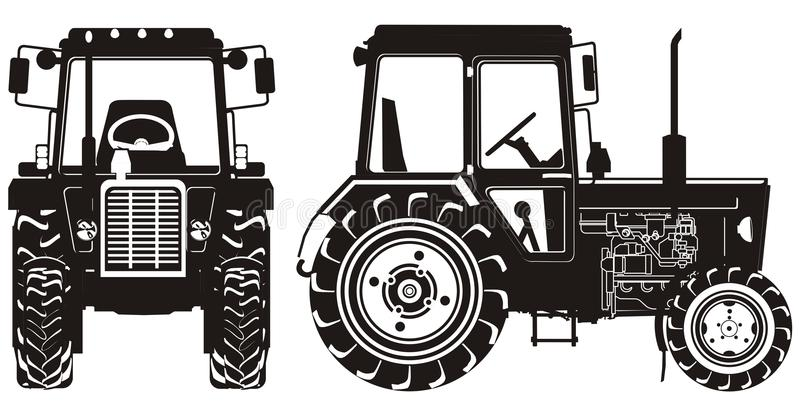 Detailed tractor silhouette stock images