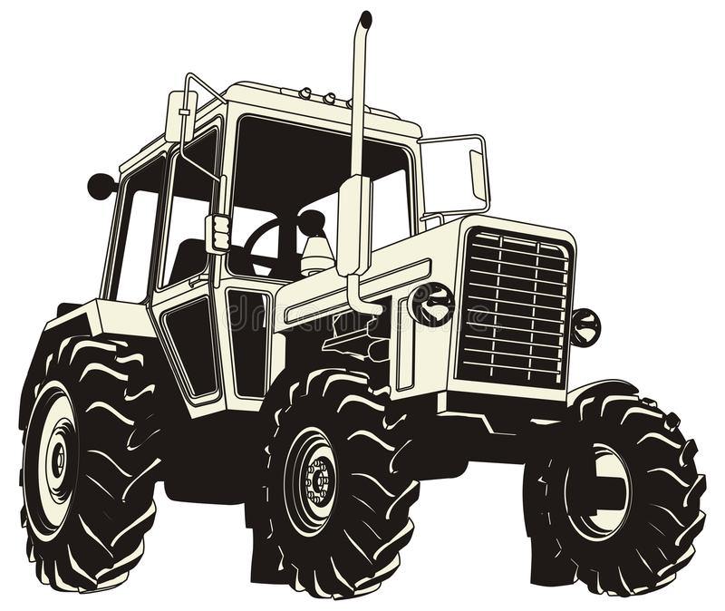 Detailed tractor silhouette stock photo