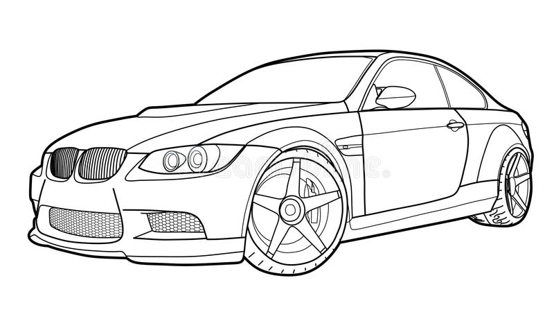Vector draw of a flat sport car with black lines. Detailed vector draw of a flat sport car with black stroke option for custom able color for kids drawing book royalty free illustration