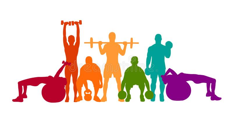 Detailed vector illustration silhouettes strong rolling people set girl and man sport fitness gym body-building workout powerlifti. Ng health training dumbbells royalty free illustration