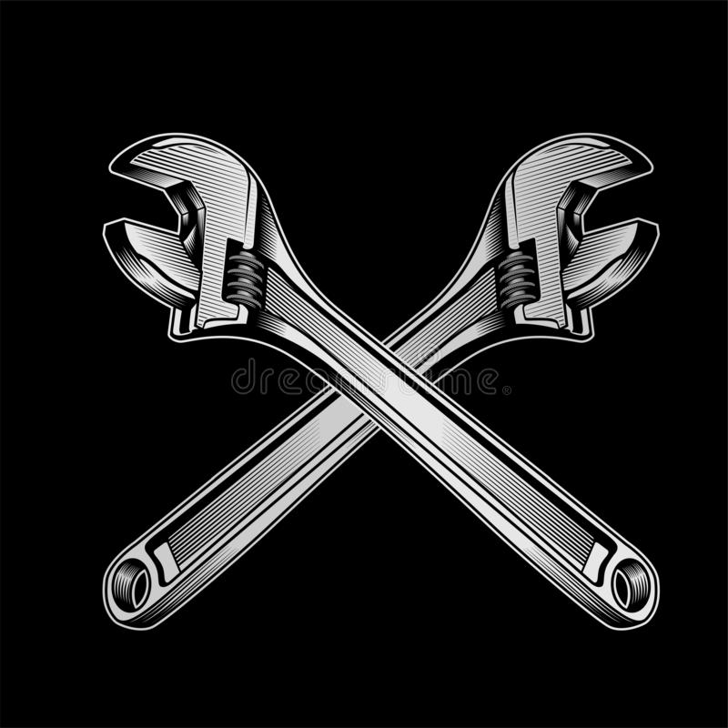 Detailed vector illustration of a wrench royalty free illustration