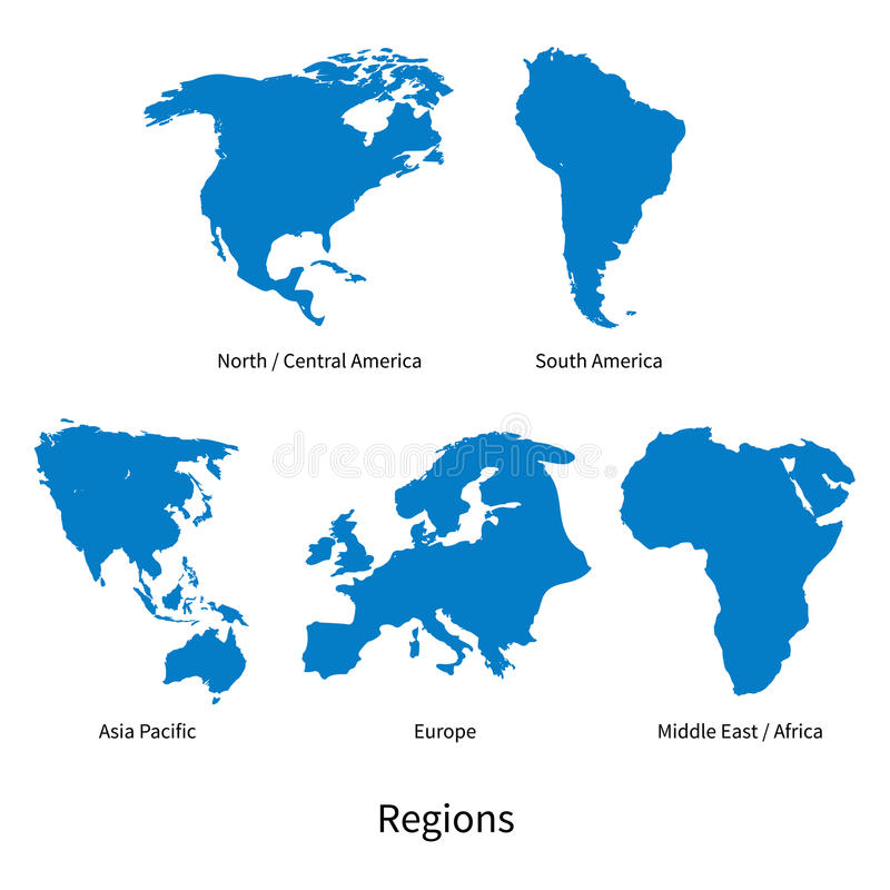 Detailed vector map of north central america asia pacific europe detailed vector map of north central america asia pacific europe south america middle and east africa regions on white gumiabroncs