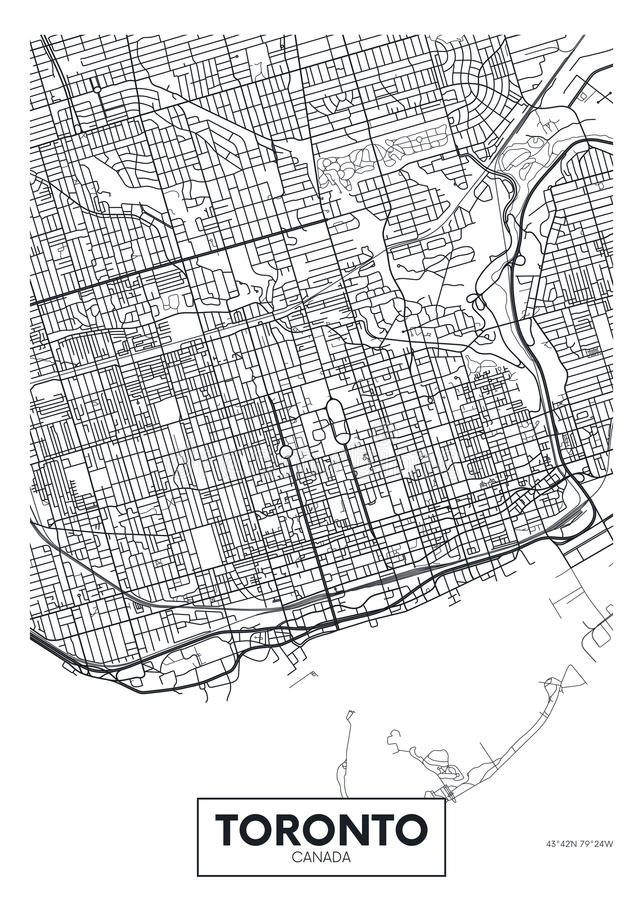 Detailed vector poster city map Toronto vector illustration