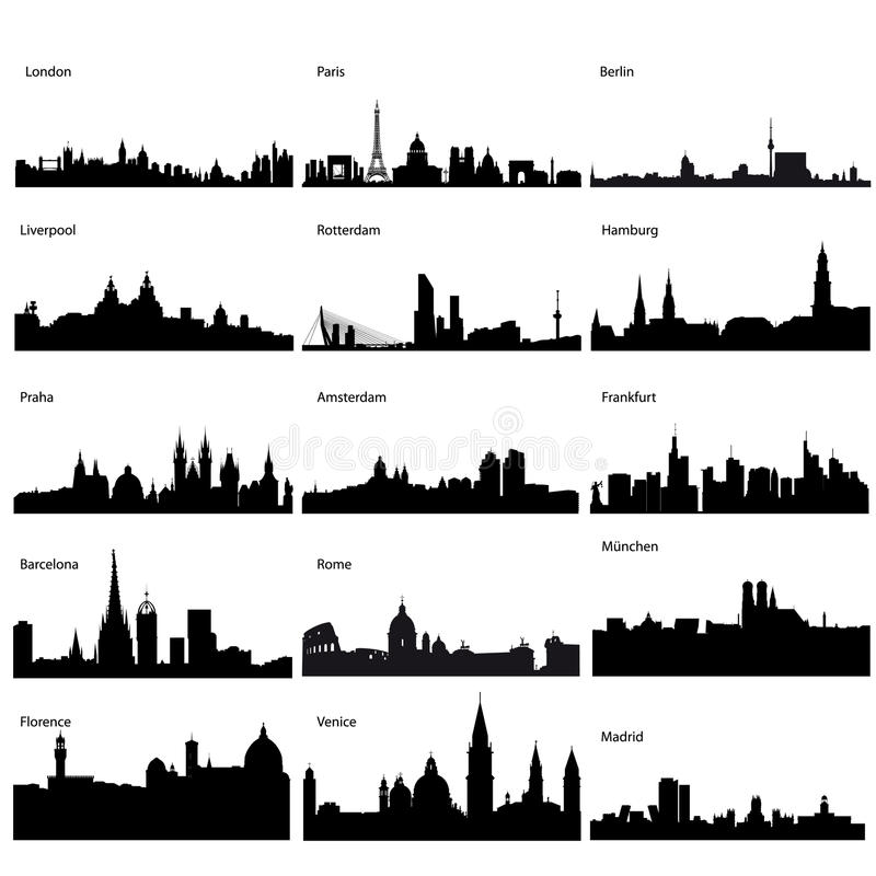 Detailed vector silhouettes of European cities. Detailed silhouettes of European cities stock illustration