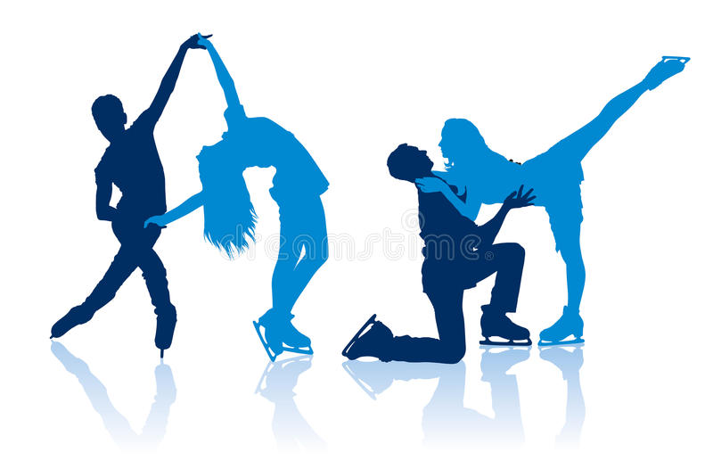 Silhouettes of figure skaters stock images