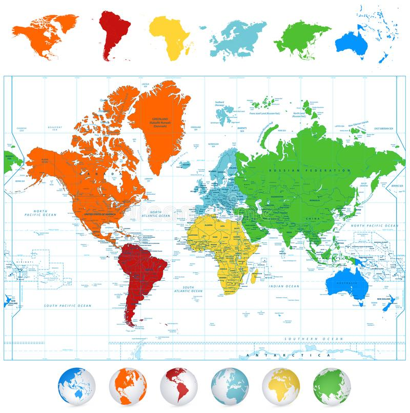 Detailed vector World map with colorful continents and 3D globes. Detailed vector World map with colorful continents, boundaries, country names and 3D globes vector illustration