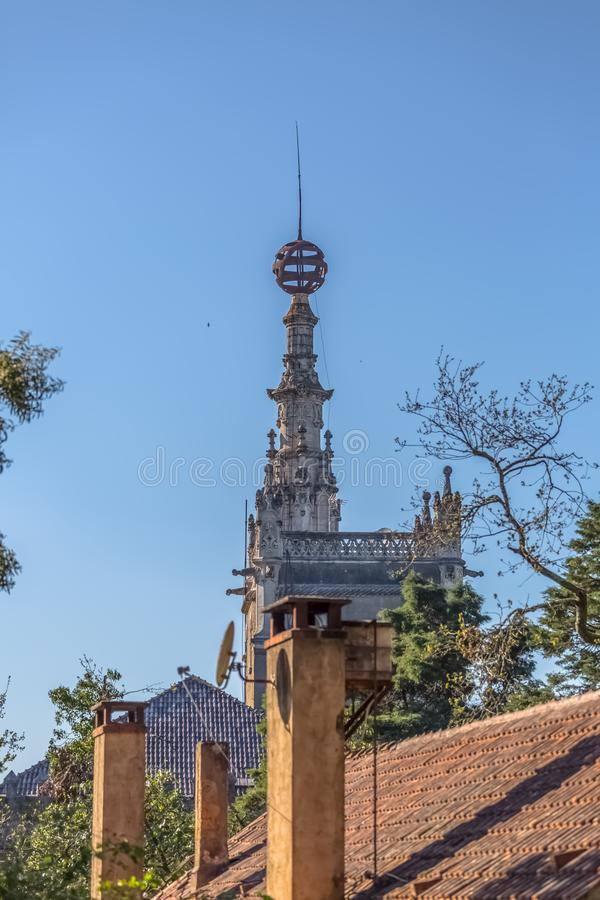 Detailed view of Buçaco palace tower stock photos
