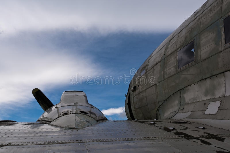 Detailed view of a Dakota DC3 aircraft. With the sky in the background stock photo