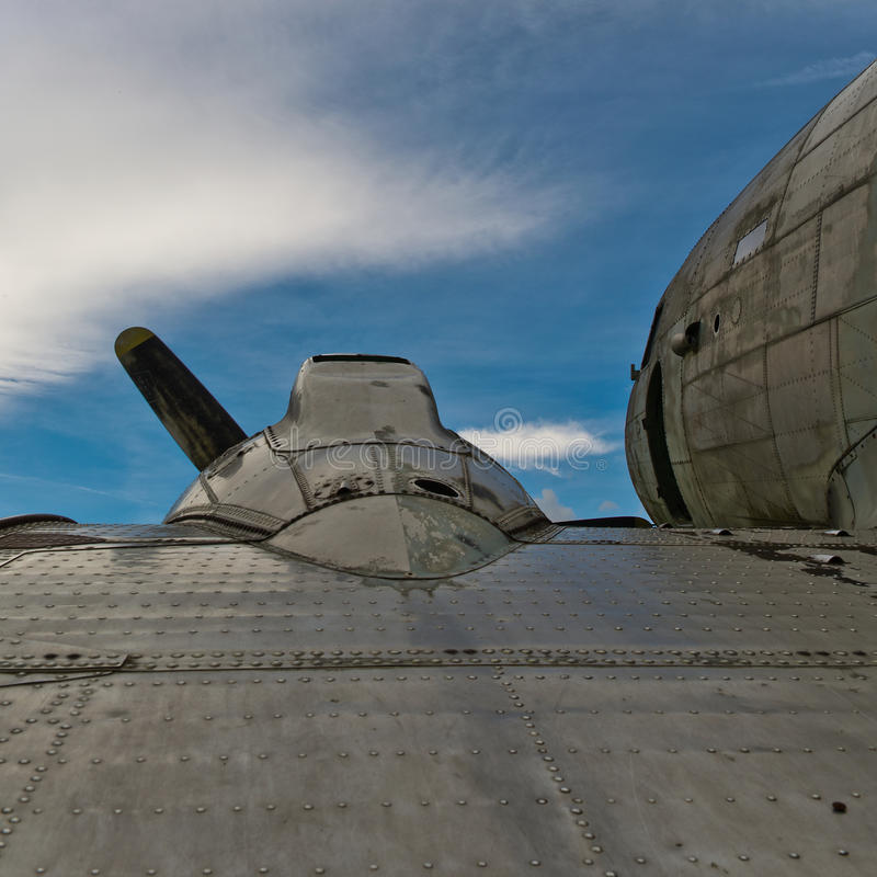 Detailed view of a Dakota DC3 aircraft. With the sky in the background royalty free stock photography