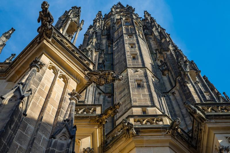 Detailed view on gothic gargoyles sculptures of St. Vitus cathedral in Prague Castle, Czech Republic. stock images