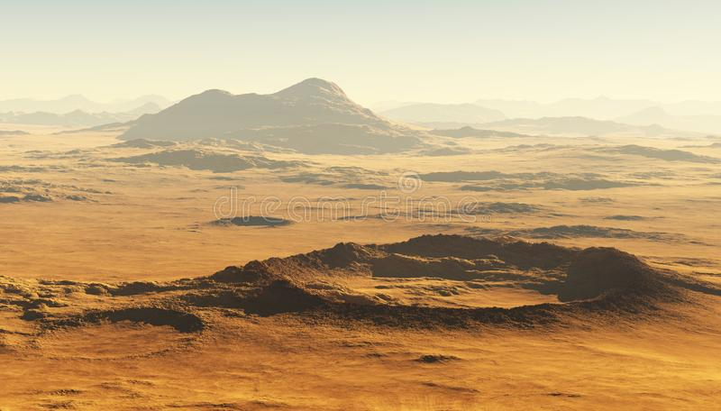 Detailed view of the Martian landscape. Mars dust storm royalty free stock photos