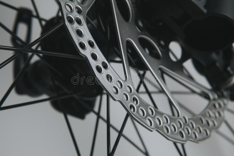 Mountain bike brake disc close up view. royalty free stock images