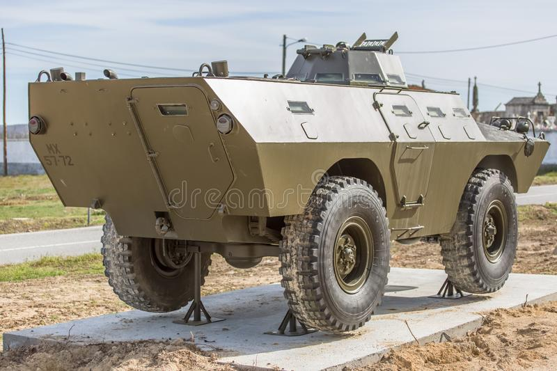 Detailed view of old armored military tank vehicle stock images