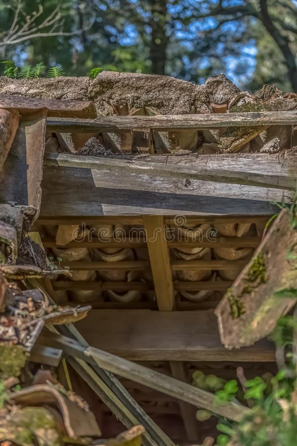 Detailed view of old roof house stock image