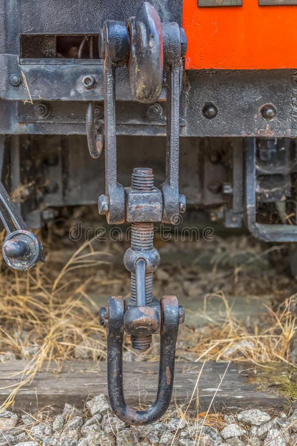 Detailed view of a old wagon stretcher, rusty pieces antique system stock photography