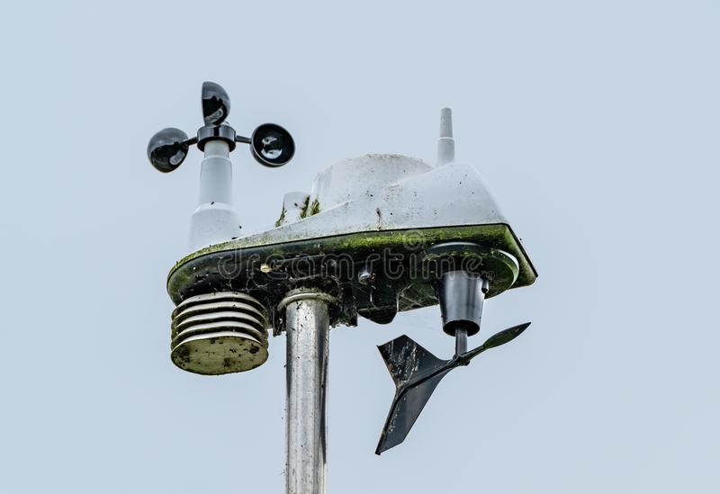 Detailed view of a professional Weather Station atop a mast, showing its various sensors. Used for professional weather forecasting for news agencies, the royalty free stock images