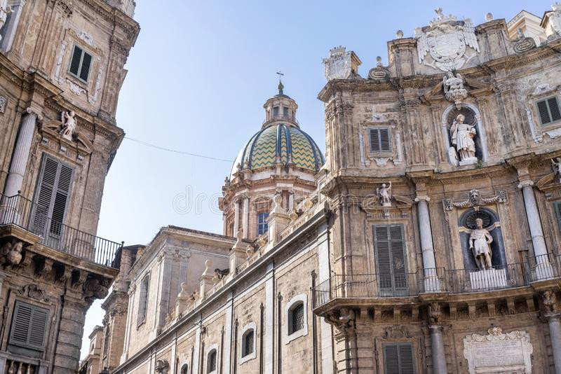 Detailed view of Quattro Canti or Four Corners in Palermo, Sicily.  stock photo