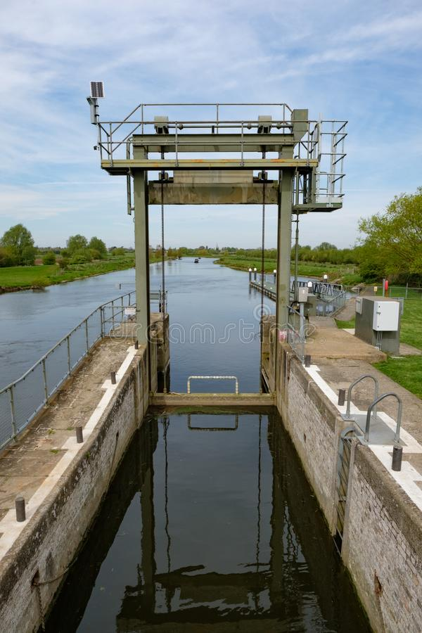 Detailed view of a river lock system used by canal and narrowboats. stock image
