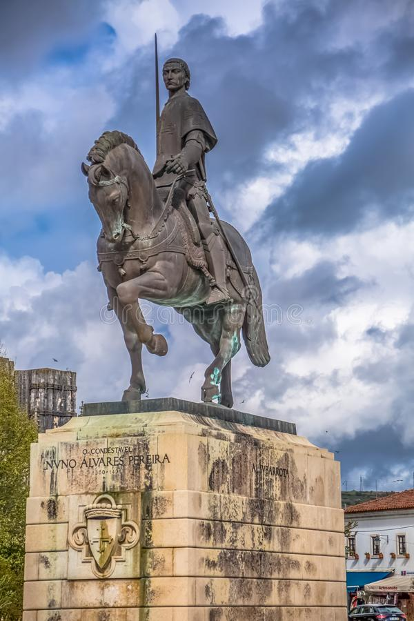 Detailed view of the statue at the Nuno Alvares pereira, famous portuguese knight and his horse, Portugal stock images