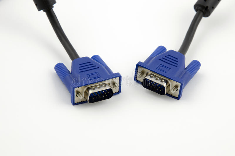 Detailed view of two VGA video connectors with black cables stock images