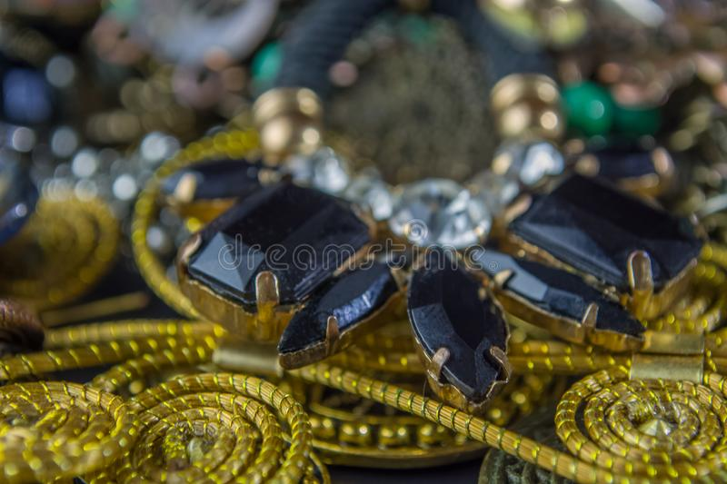 Detailed view of various women Jewelry and props stock photography