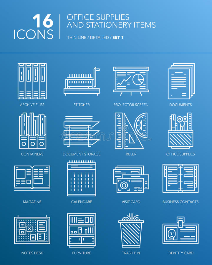 Detailed white thin line icons - Office supplies and stationery items royalty free illustration