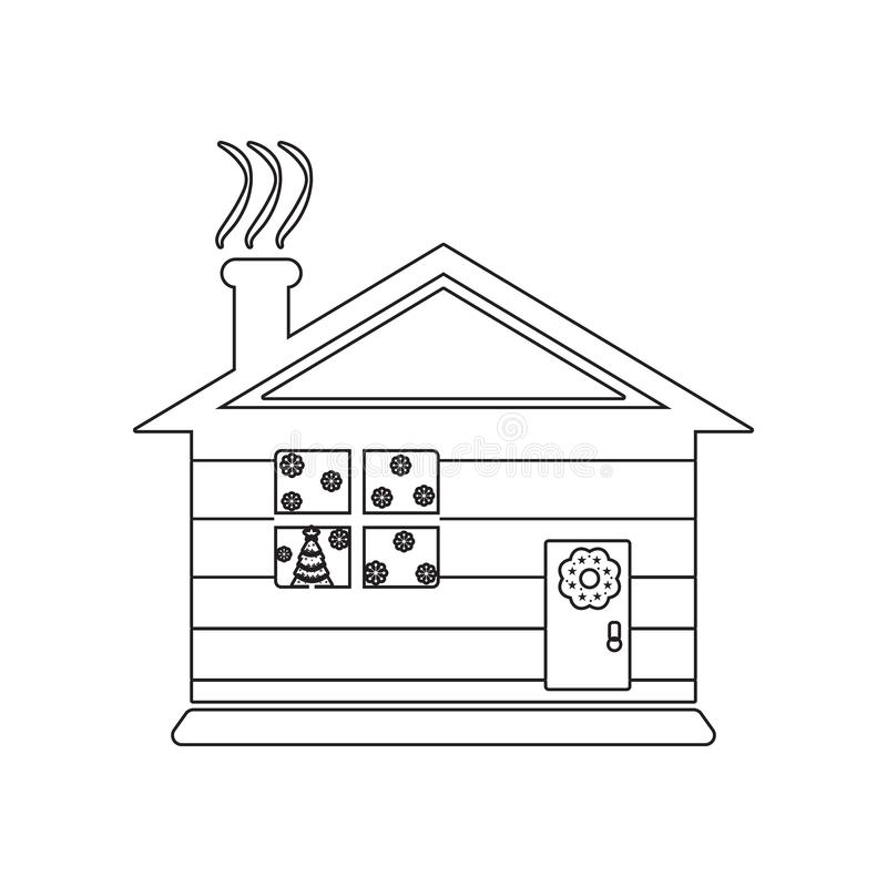 Detailed winter house on snowy icon. Element of winter for mobile concept and web apps icon. Outline, thin line icon for website stock illustration
