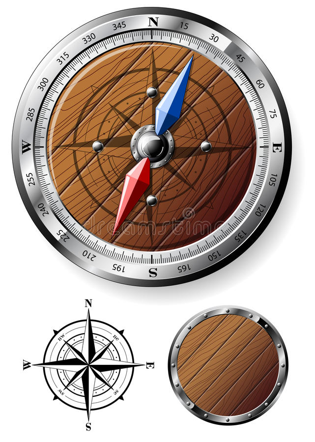 Detailed wooden compass royalty free illustration