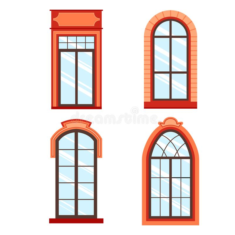 Detailed wooden window frames. View isolated on house wall. Architecture design outdoor or exterior view, building and home theme stock illustration