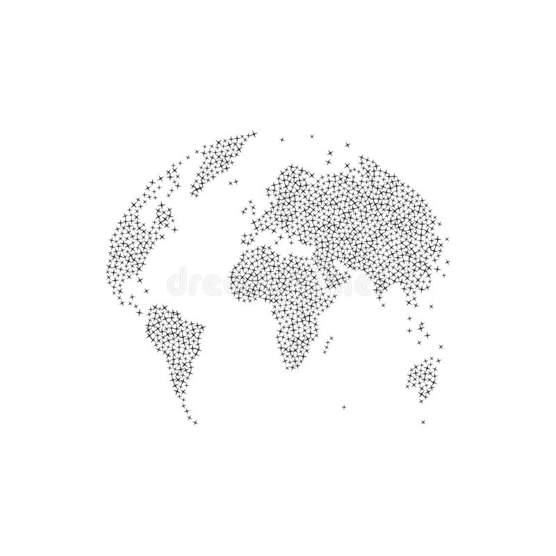 Detailed world map in globe shape with set stars, isolated on white background. Earth Day Object. Flat vector illustration EPS10. Patterns, flashes, global royalty free illustration