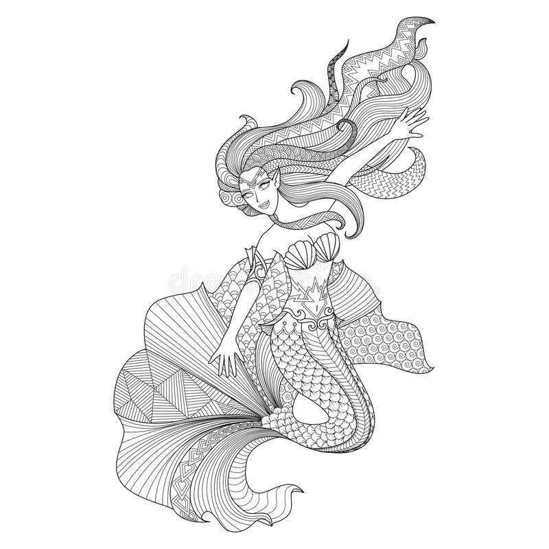 Detailed zentangle mermaid for coloring page stock illustration