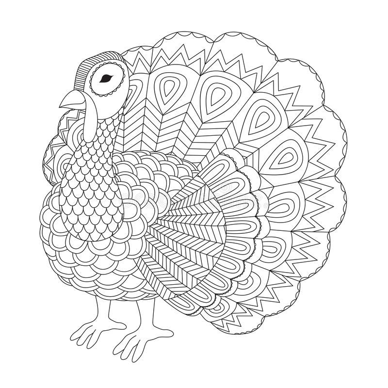 Detailed zentangle turkey for coloring page for adult vector illustration