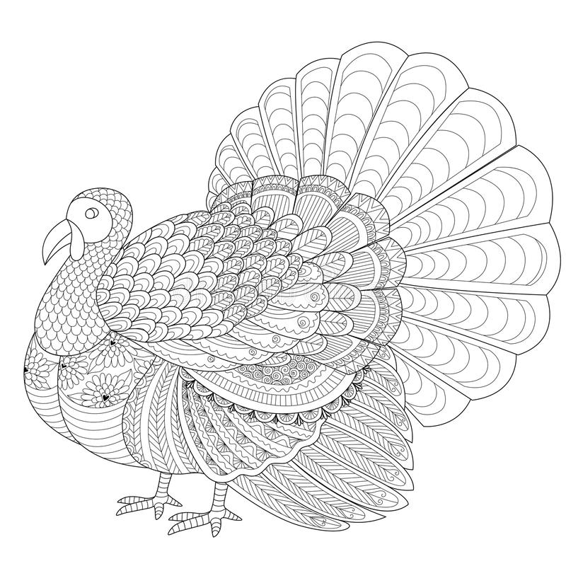 Download Detailed Zentangle Turkey For Coloring Page Adult Stock Vector