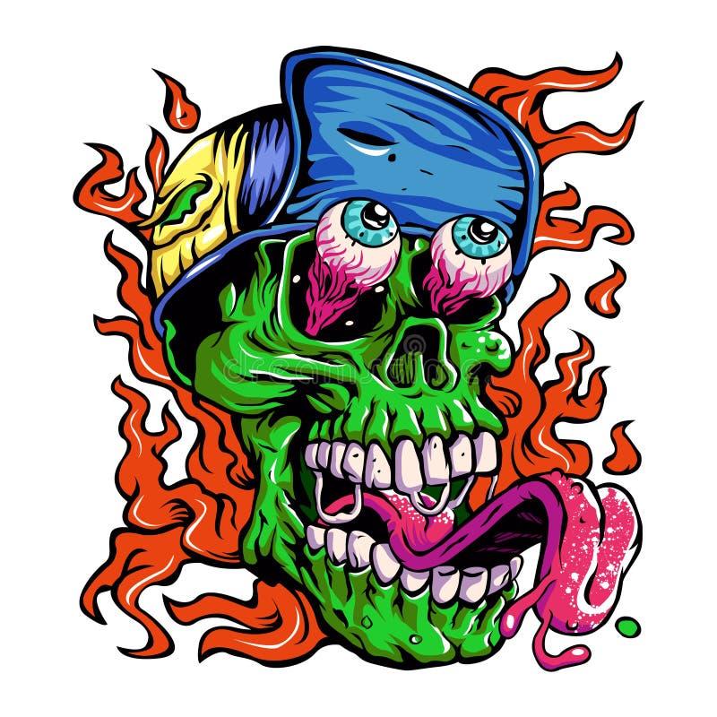 Detailed Zombie wearing hat Head Illustration royalty free illustration