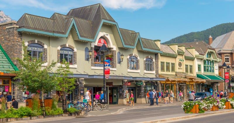 Detailhandelarchitectuur van Banff royalty-vrije stock afbeeldingen