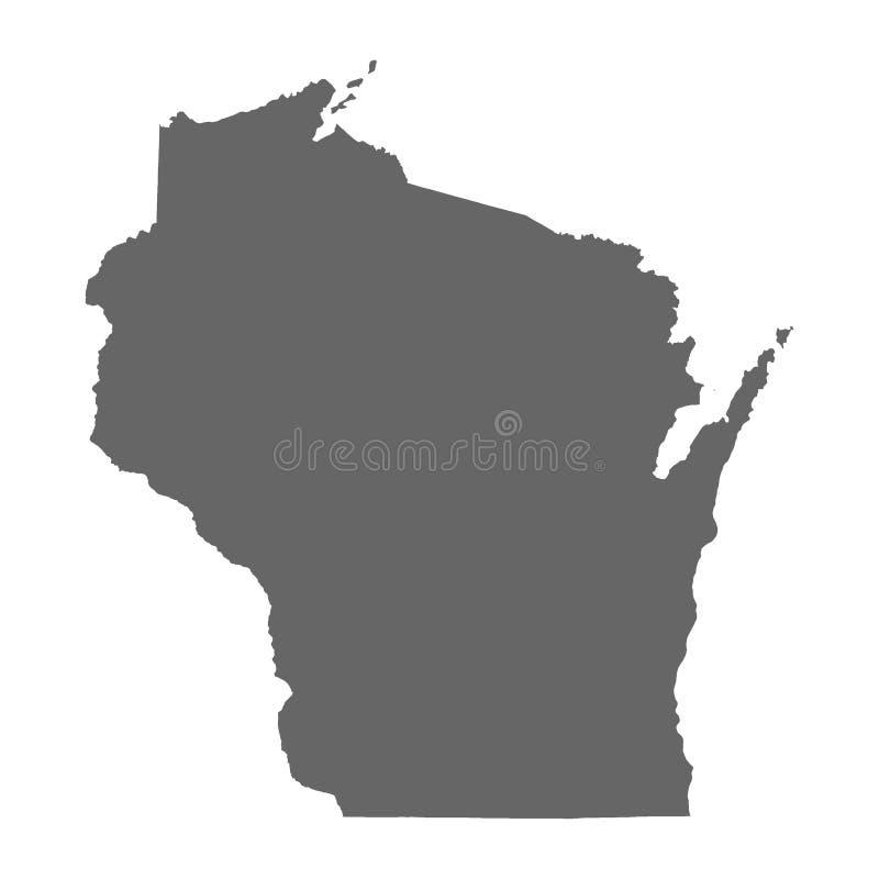 Detailleerde de vectorkaart van de Staat die van Wisconsin hoog silhouet op witte achtergrond wordt geïsoleerd royalty-vrije illustratie