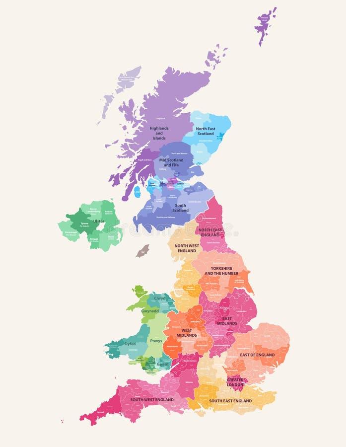 Detailleerden de administratieve districten van het Verenigd Koninkrijk hoog vectordiekaart door gebieden met editable en geëtike royalty-vrije illustratie