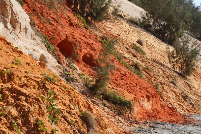 Detailmening van de gekleurde zandklippen bij Regenboogstrand, Queensland, Australië stock foto