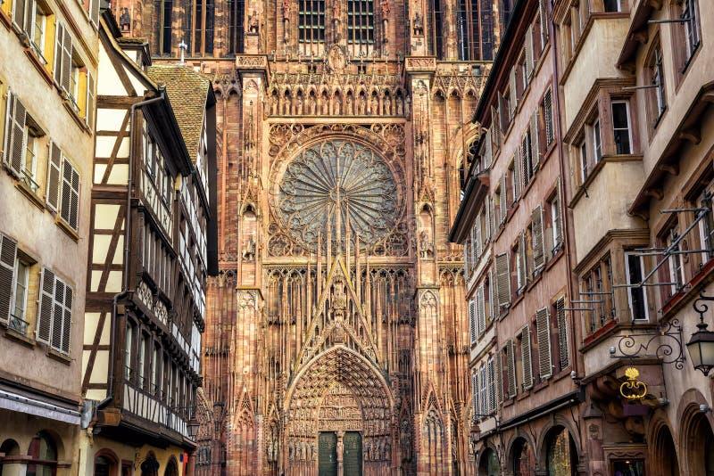 Detailmening van de kathedraal van Straatsburg, de Elzas, Frankrijk royalty-vrije stock afbeelding