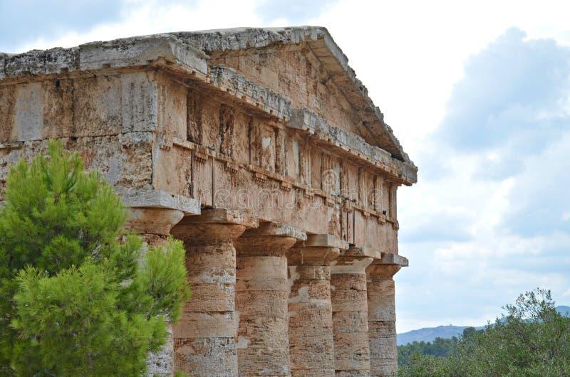 Detailod tempeldak in Segesta, Sicilië stock foto's