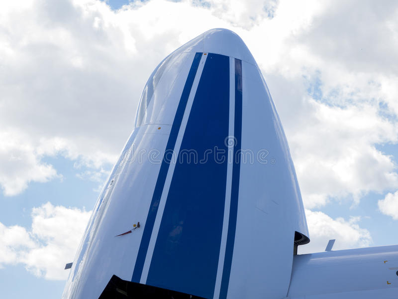 Details and aircraft parts. Details of the cargo and civilian aircraft. Best transport aircraft in the world. The nose of the aircraft royalty free stock images