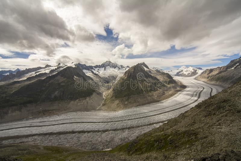Glacier details. Details on the Aletsch glacier. Glaciers worldwide are melting at an alarming rate and Aletsch glacier is no exception stock photo