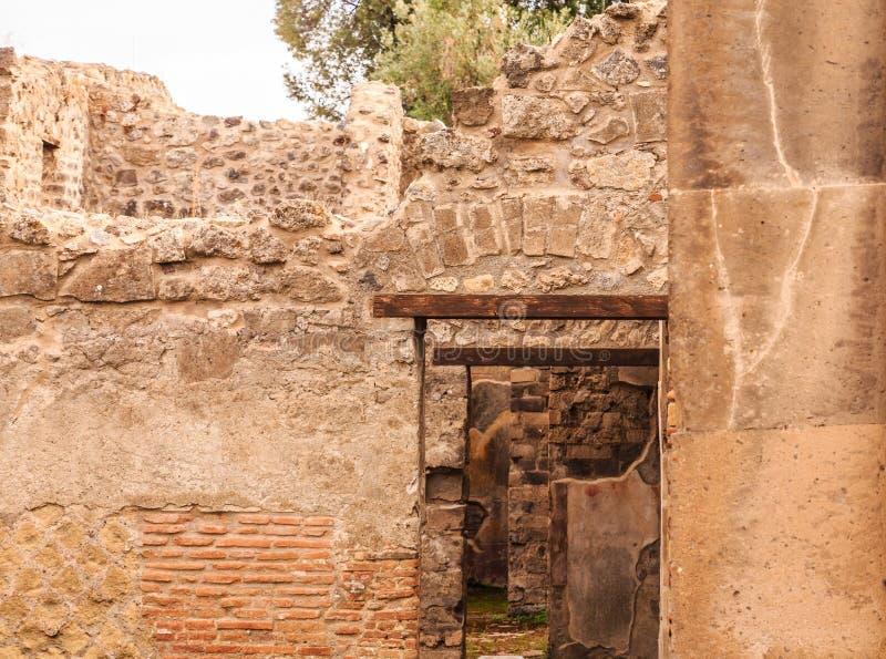 Doors within Doors in Pompeii. Details of the Ancient city of Pompeii destroyed by volcano of Vesuvius stock photos