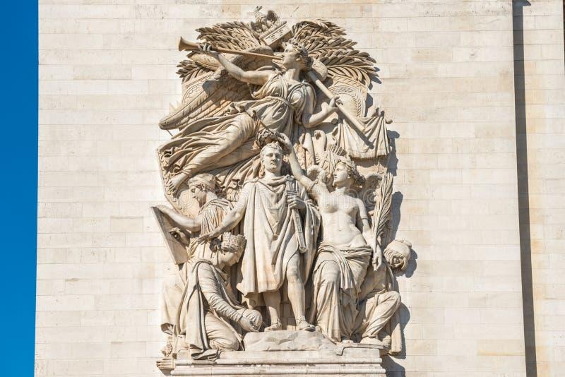 Details of Arc de Triomphe in Paris. Details of Arc de Triomphe on blue sky in Paris France royalty free stock image