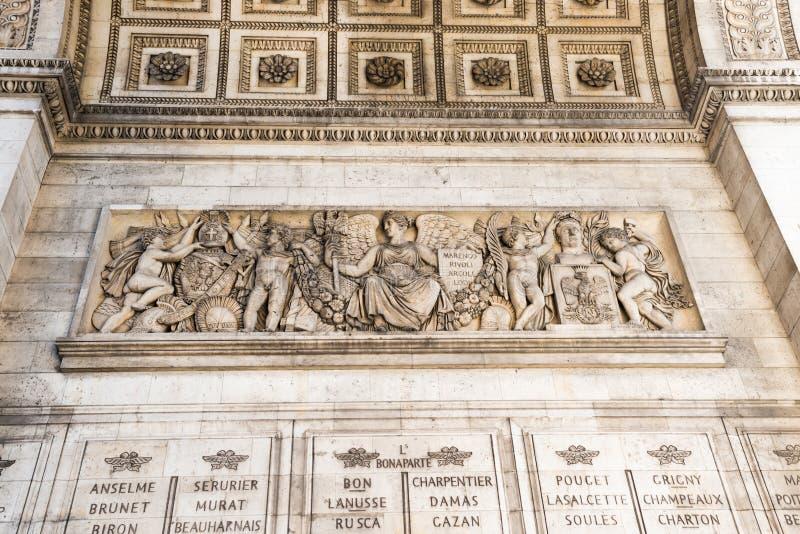 Details of Arc de Triomphe in Paris. Details of Arc de Triomphe on blue sky in Paris France stock photography